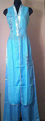 Traditional Vietnamese Dress Aodai with Hand-beaded Flower Design in blue color