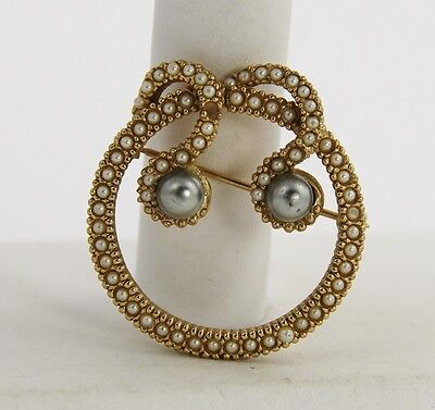 VINTAGE VICTORIAN Jewelry EARLY 1900's IMITATION SEED PEARL CIRCLE BROOCH