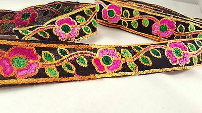 5cm- 1 meter Beautiful colourful floral wool embroidered trim lace for crafting