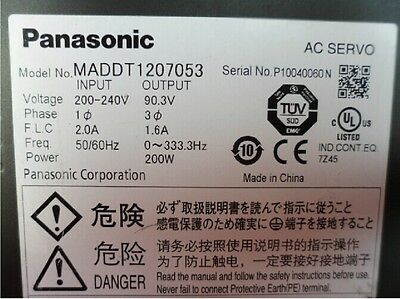 1PCS Used Panasonic AC Servo Driver MADDT1207053 200W Tested