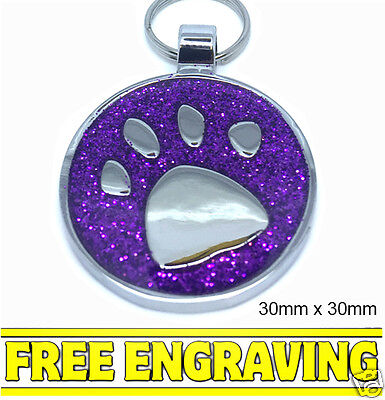Purple Glitter Paw Personalised Pet ID tag - Cat-Dog Large Disc Free Engraving