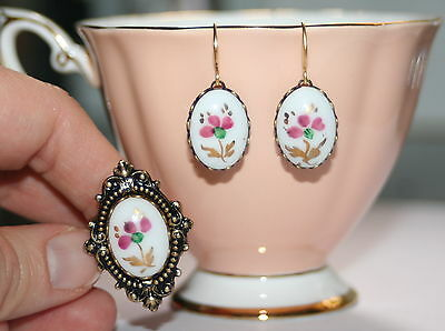 Vintage Porcelain floral artisan retro brass earrings rubydalmatian