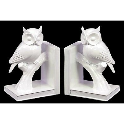 Ceramic Owl On Tree Branch Bookend Gloss White