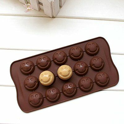 Smiley Face EMOJI Mold Smiling Shape Candy Ice Cube Tray Chocolate DIY Cute Cake