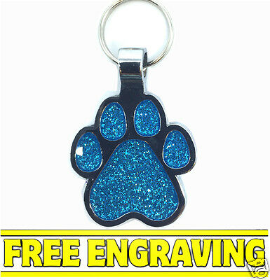 Blue Paw Shaped - Pet Name Tag Id Disc - Free Name & Ph Number Engraved