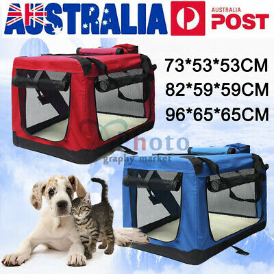 Pet Soft Crate Portable Dog Cat Carrier Travel Cage Kennel Folding L/XL RED/BLUE