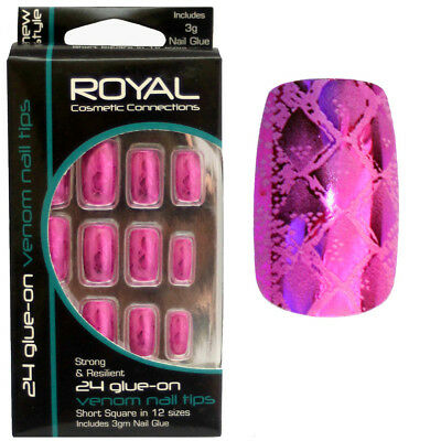 24 faux ongles & colle Venom de Royal peau de serpent rose - snake false nails