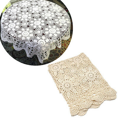 Vintage Crochet Lace Square Tablecloth Table Cloth Cover Party Home Decor Gift