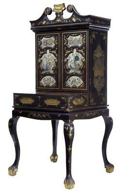 19Th Century Chinese Canton Black Lacquered Desk Cabinet