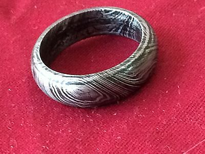 Hand crafted unisex damascus steel ring