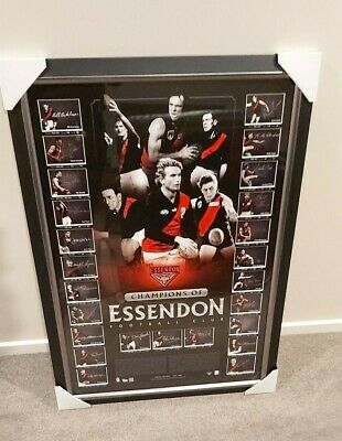 Essendon James Hird Lloyd Madden Watson Long Signed Framed Champions Of Essendon