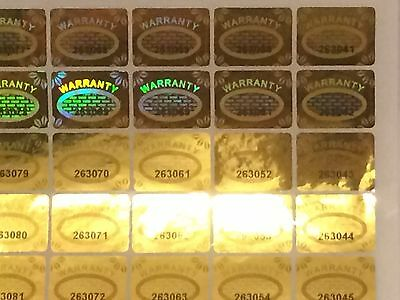 Warranty Void Hologram Tamper proof Labels 20mm x 15mm Security Stickers Gold
