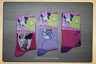 *·•●✿  Lot 3 Paires Chaussettes Fille 23/26 ● Minnie ● Disney ● Neuf ✿●•·•*