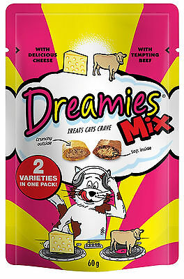 Dreamies Cat Treats 60g Mixed Flavours Beef & Cheese Bulk Buy Of 3 Packs