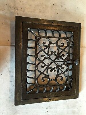 Wiry Ornate Antique Cast-Iron Heating Grate Tc 101