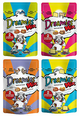 Dreamies Cat Treats 60g Mixed Flavours 12 Pack Deal - 3 Of Each