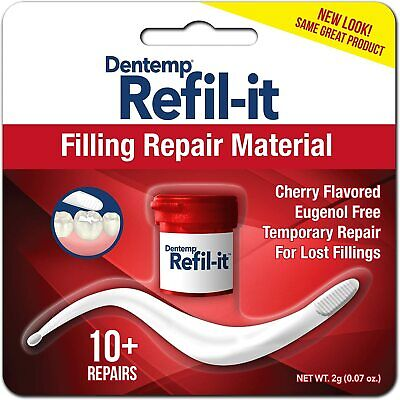 Dentemp REFILIT Dental Cement Tooth Filling Cherry 2g-Repairs Lost Fillings