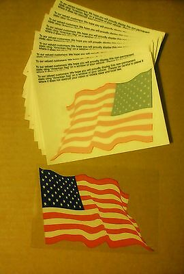 Lot of 10 VINTAGE Exxon Mobil American Flag Static Sticker new (free shipping)