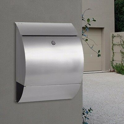 MILKCAN 304 STAINLESS WALL MOUNT LETTERBOX Walboxl WB53 Mailbox Fence, Brick