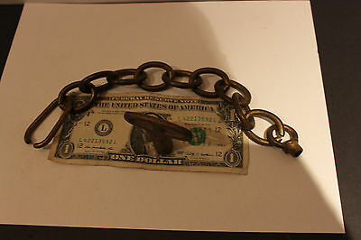 "(AA-10101) Bronze Key, 12"" solid brass chain, As Found-Estate!!"