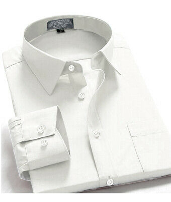 New Mens Regular Fit Long Sleeve Solid Color One Pocket Oxford Shirt White