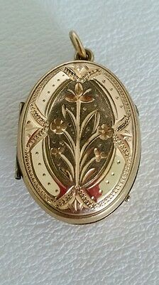 Antique Victorian Mourning Hair Photo Glass Locket 9k Yellow Gold Plate
