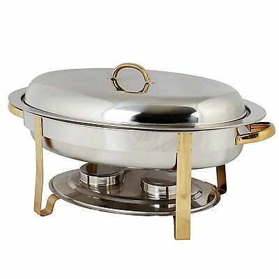 Thunder Group 6-Quart Gold Accented Oval Chafer Perfect for Parties -SLRCF0836GH