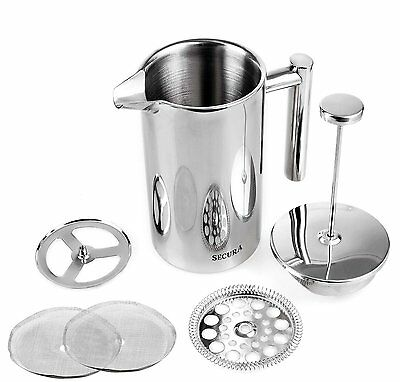 Secura Stainless Steel French Press Coffee Maker 18/10 Bonus Stainless Steel CKM