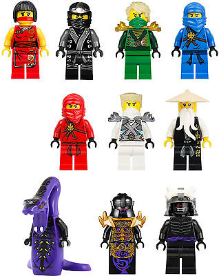 10 x Lego Ninjago Mini Figure Vinyl Wall Stickers, full colour transfer decal