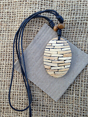 Oval Pendant / Necklace with Bamboo Pieces & Resin from Thailand Ethnic Wear