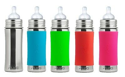 Pura Kiki Stainless Steel Baby Inflant Bottle Vent Nipple Silicone Sleeve 11oz