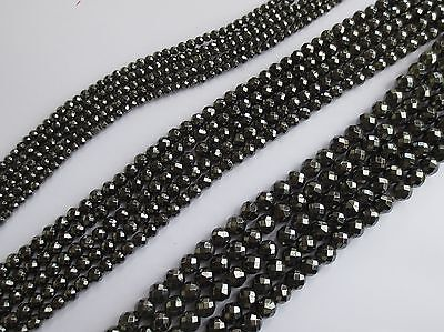 Magnetic Faceted Hematite Round Gemstone Beads
