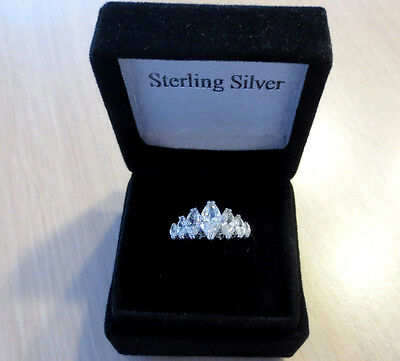 New 925 Sterling Silver 7 cz Stone MARQUISE BAND RING Wedding Engagement SIZE 8