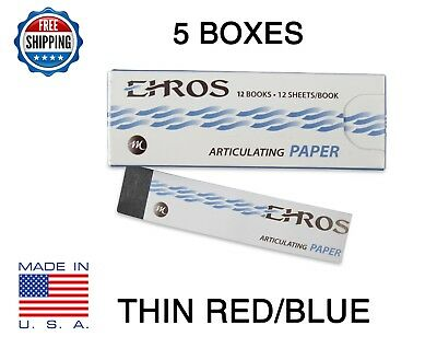 "5 BOXES DENTAL ARTICULATING PAPER THIN (0.003"") RED/BLUE 780 Sheets  MADE IN USA"