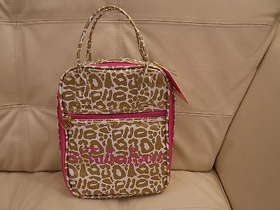 New Wt Women's Macbeth Collection Lunch Tote Leopard Print Gold Pink M-71015 Fab