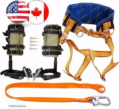 Tree Climbing Spike Set Spur Safety Belt Wth Straps Safety Lanyard Wth Carabiner