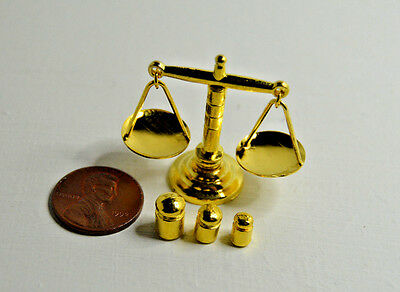 Miniature Balance Scale with 3 weights in 1:12 doll scale