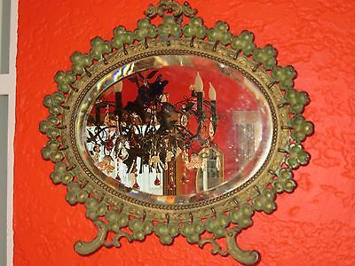 Antique Victorian Cast Iron Oval Picture Frame Wall  Mirror Clover Pattern