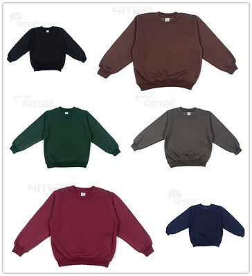Kids Boys Girls Fleecy Fleece School Uniform Jumper Sz Wear Sweatshirt Unisex