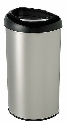 Nine Stars 13.2 GALLONS/50 LTRS, BLACK, STAINLESS STEEL, OPEN TOP TRASH CAN NEW