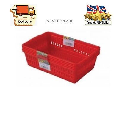 Red Set of 5 Small Plastic Handy Fruit Vegetable Basket Kitchen Office Storage