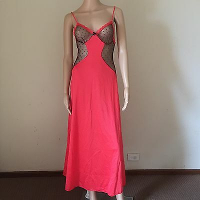 Vintage 'ENCHANTRESS' Sexy RED & Black LACE Maxi NEGLIGEE Nightdress NIGHTGOWN 8