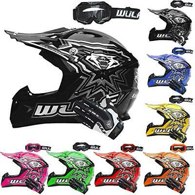 Wulf Cub Flite-Xtra Motocross Helmet Kids Junior Crash MX ATV Quad Wulfsport