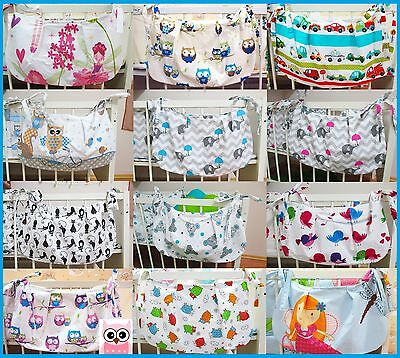 BABY COT TOYS BAG TIDY ORGANISER PATTERNED 100% Cotton