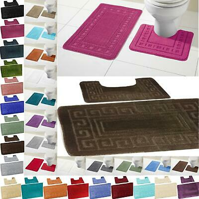 Bath Mat Set 2 Piece Non Slip Rubber Pedestal Mat Toilet Greek Bathroom Rug New