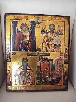 "Antique russian icon, hand-painted, 4 scenes 19th century, 17.7"" x 15"""