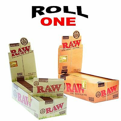 25 Raw Single Wide Classic Vegan  Organic Rolling Papers Full Box 100 Leaves