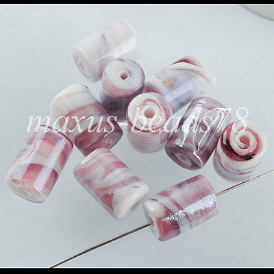 NEW Lampwork Glass Column Spacer Loose Beads 10 PCS Jewelry making MW0284
