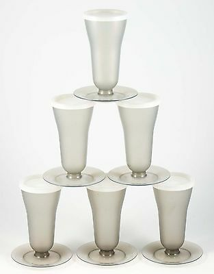 Vintage Tupperware set of 6 grey parfait bowls with lids, wine flute