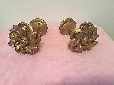 Sensational Vintage French Giltwood Curtain Tie Backs Italy